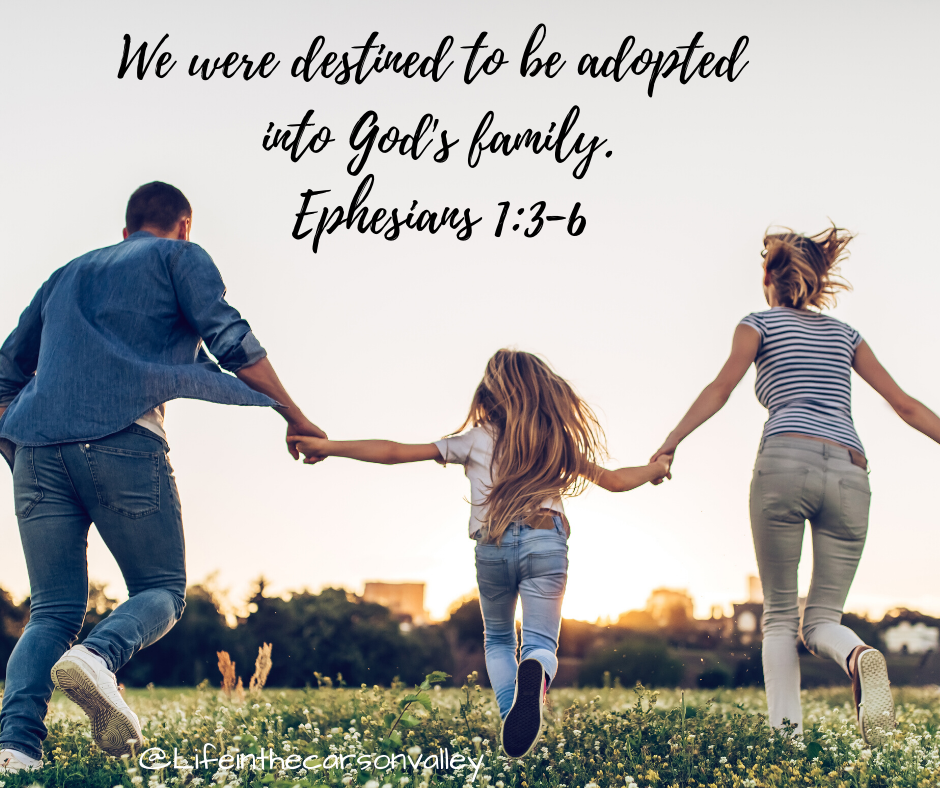 We were destined to be adopted into God's family. Ephesians 1_3-6